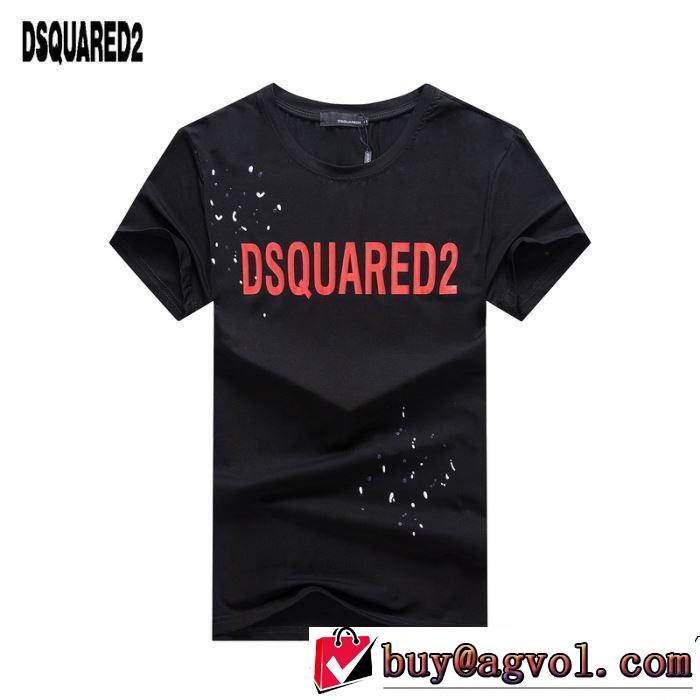 ブランド コピー 販売_ディー スクエアー ド コピーDSQUARED2激安大特価新品紳士ロゴ付き自然な風合い半袖Tシャツブラックホワイト