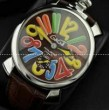 耐久性が高いGaGaMILANO ガガミラノ腕時計 マルチカラーインデックス 2針 機械式腕時計.