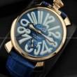 高い実用性あるGaGaMILANO ガガミラノ ブルー ベルト 2針 機械式腕時計 .