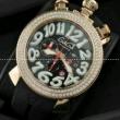 ステキ!! ガガミラノ腕時計 GaGaMILANO 日本製クオーツ ダイヤベゼル 6針 ダイヤベゼル クロノメーター搭載.