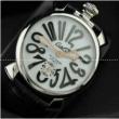 ガガミラノ時計 5気圧防水ミネラルガラス手巻き牛革ウォレットブラック MANUALE 48MM ステンレス