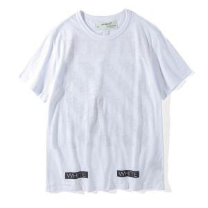 コピー ブランド 通販 安心_シンプル印象になって オフホワイト ブランド コピー 白Tシャツ 美しい カジュアル着心地 夏服 メンズ ユニセックス