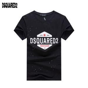 スーパー コピー メンズ_激安大特価得価ロゴプリント半袖トップス男性用DSQUARED2ディースクエアード偽物ライフスタイルTシャツ