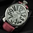 ガガミラノ時計Gagamiranoミネラルガラス手巻き牛革ウォッチピンク MANUALE 48MM ステンレス 5010.09S