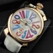 ガガミラノ腕時計MANUALE 48MM ゴールドステンレス Gagamirano ミネラルガラス手巻き牛革ホワイトウォッチ