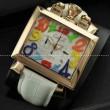 ガガミラノ時計 ステンレスケースミネラルガラス自動巻き牛革ホワイト NAPOLEONE PVD 6002.1