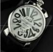 高い視認性を実現するGaGaMILANO ガガミラノ  クオーツ ホワイト ケース ブラック インデックス 自動巻き式腕時計.