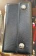 CHROME HEARTS クロムハーツ 財布ウェーブ ウォレット BSフレアボタン ブラックヘビーレザー メンズ.